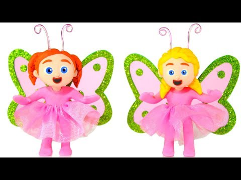 LITTLE GIRLS WEARING BUTTERFLY COSTUMES 鉂� SUPERHERO PLAY DOH CARTOONS FOR KIDS
