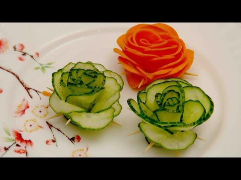 Vegetable Decoration. Green Cucumber Rose.