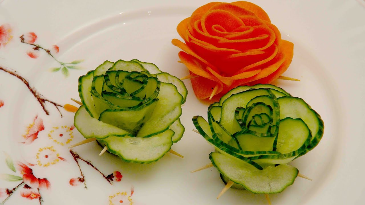 Vegetable decoration green cucumber rose food decoration - How to slice strawberries for decoration ...