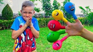 Canción de Color de la familia del dedo con bolas   Canciones Infantiles con Alex y Nastya
