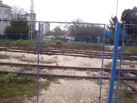 Dangerous rails crossing with a bicycle