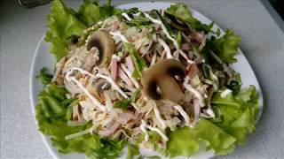 САЛАТ/мясо(колбаса)грибы,яичные блинчики