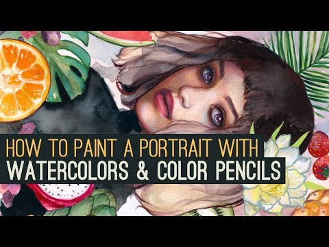 HOW TO PAINT A PORTRAIT WITH WATERCOLORS  COLOR PENCILS IN 7 STEPS!