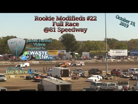 Rookie Modifieds #22, Full Race, 81 Speedway, 10/19/19