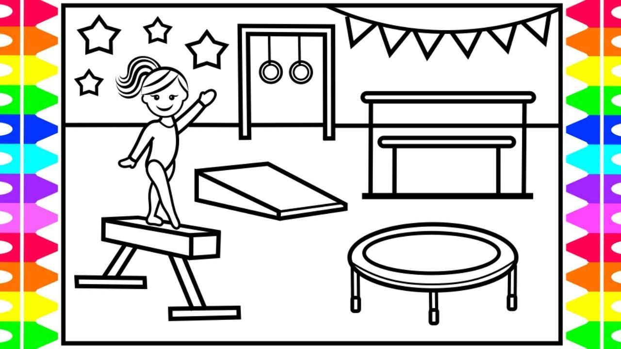 How to Draw Gymnastics for Kids 💜💖💚💛Gymnastics Drawing for Kids   Gymnastics Coloring Pages Kids