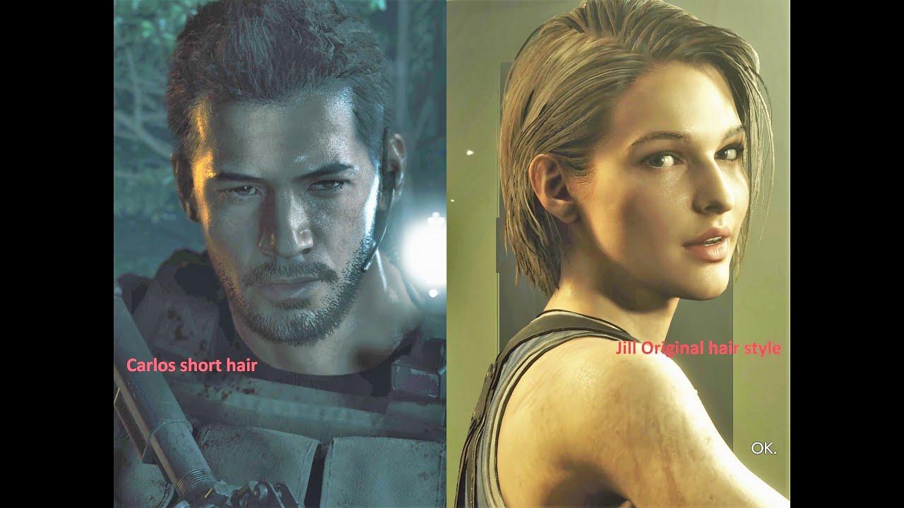 Resident Evil 3 Remake Jill Carlos New Hair Youtube