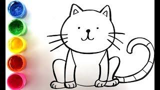 Рисуем рыжего кота и милую овечку. Домашние животные. Раскраска для детей, изучаем цвета
