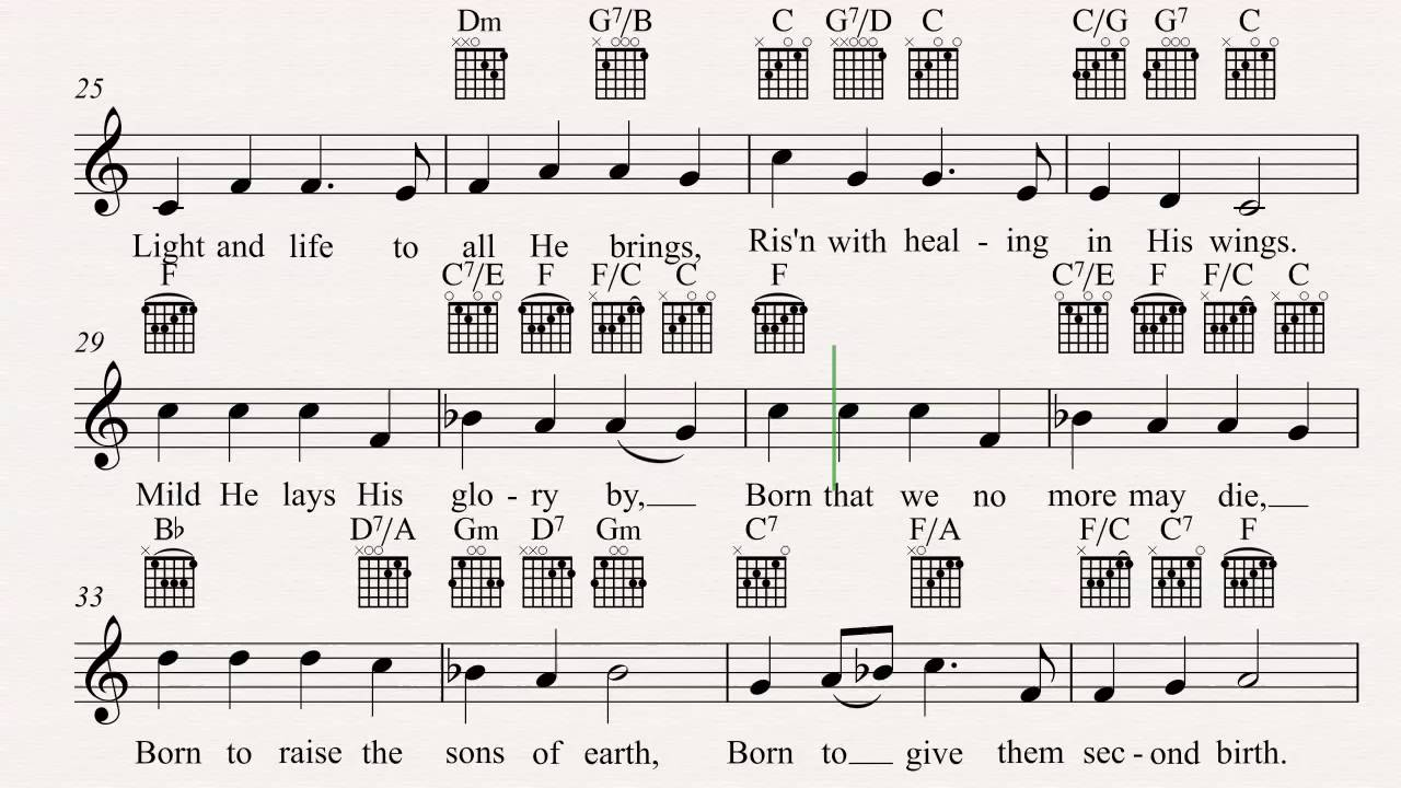 Guitar Hark The Herald Angels Sing Christmas Carol Sheet