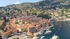 French Riviera drone aerial around Villefranche-sur-Mer and Èze