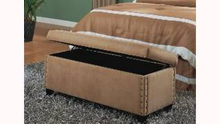 Coaster Classic Storage Bench With Nailhead Trim Design Tan Microfiber