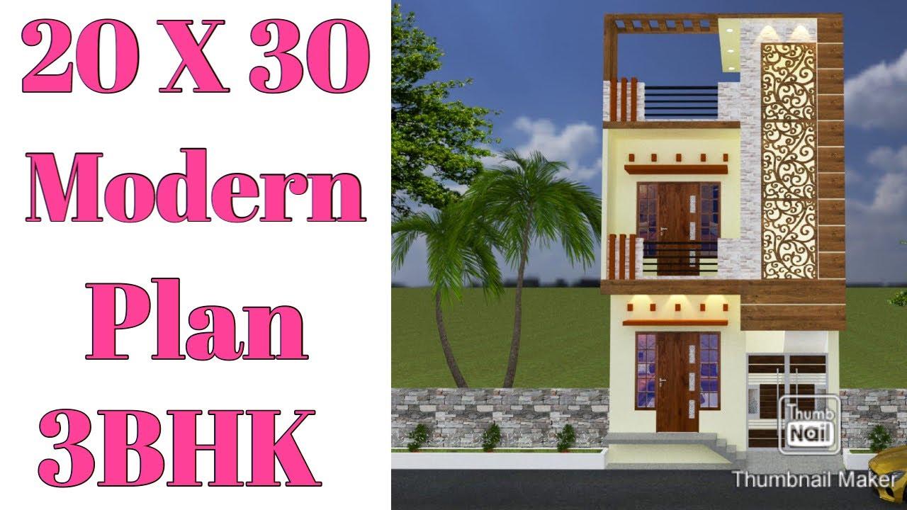 20 X 30 , Modern House plan , 3d elevation parking lawn garden map , Vastu anusar parking garden