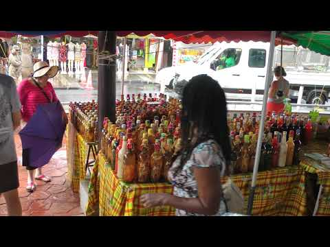 scenes from and views of famous St. Francois, Guadeloupe farmer's market Marché La Rotonde