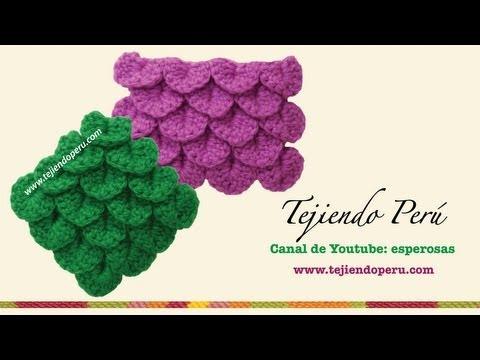 Punto cocodrilo o escamas tejido a crochet  - Tejiendo Perú