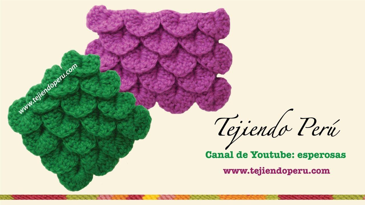 Punto cocodrilo o escamas tejido a crochet - Tejiendo Perú - YouTube