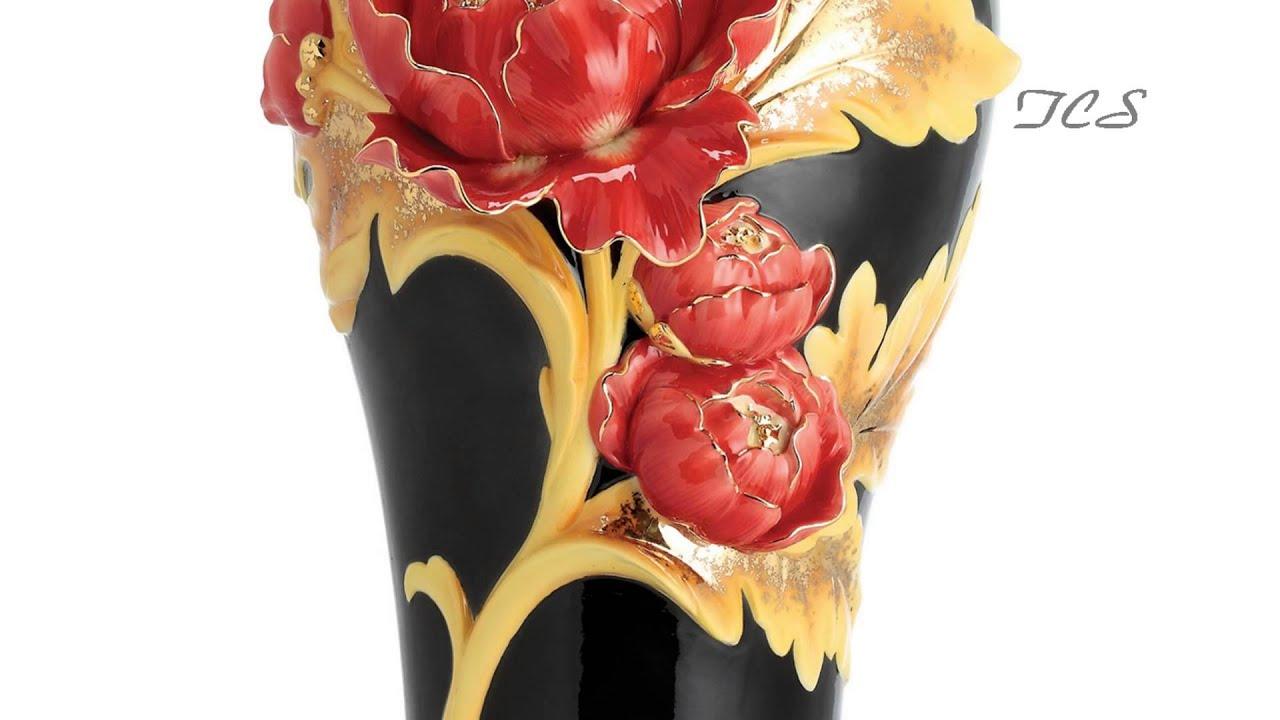 Franz porcelain striking vermillion peony vase w wooden base franz porcelain striking vermillion peony vase w wooden base limited edition 2000 the collection shop reviewsmspy