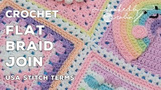 Crochet Continuous FLAT BRAID Join As You Go | Granny Square Joining