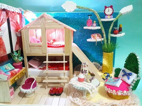 DIY Miniature Dollhouse ~ Popsicle Stick House Bunk Bed