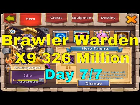 Castle Clash Challenge A Warden Brawler Warden X9 326 Million Day 7/7