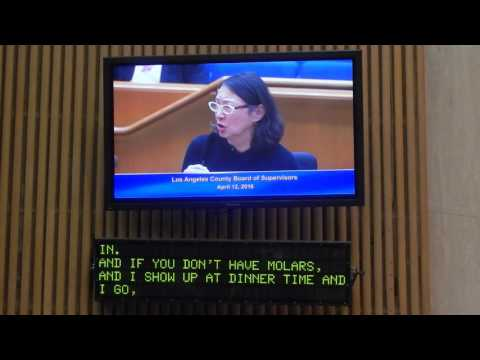 Adelle Lutz testifies before the board of the supervisor of LA County