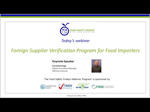 Foreign Supplier Verification Program for Food Importers