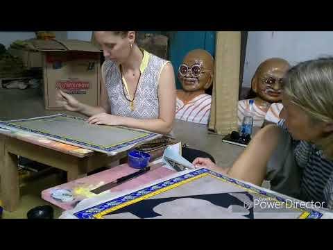 PAINTING ON TASAR SILK || HERITAGE VILLAGE RAGHURAJPUR 🙏