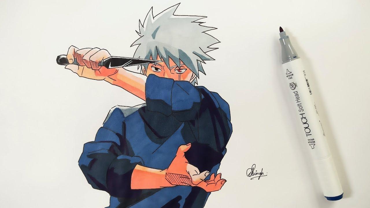 Drawing Kakashi - Naruto Shippuden - YouTube