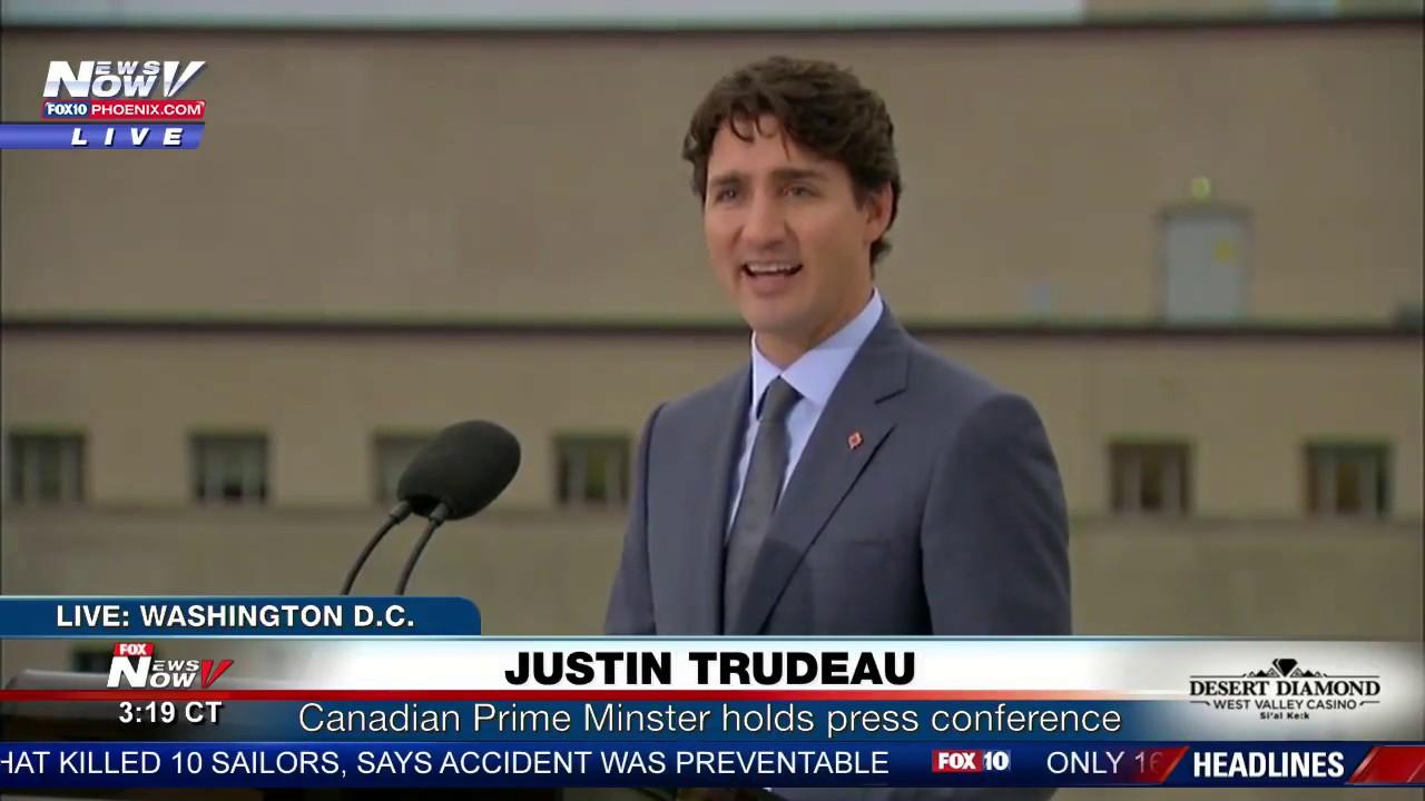 FNN 10/11/17: Justin Trudeau Press Conference in D.C., Trump Speech on Tax Reform, CA Wildfires