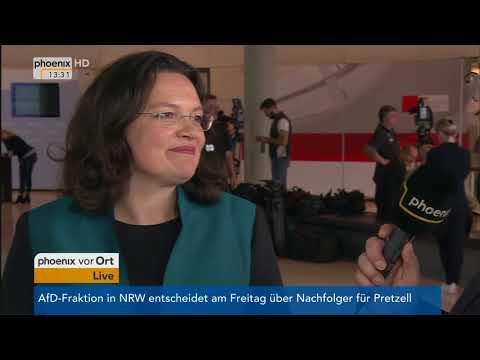 Andrea Nahles im Gespräch mit Erhard Scherfer