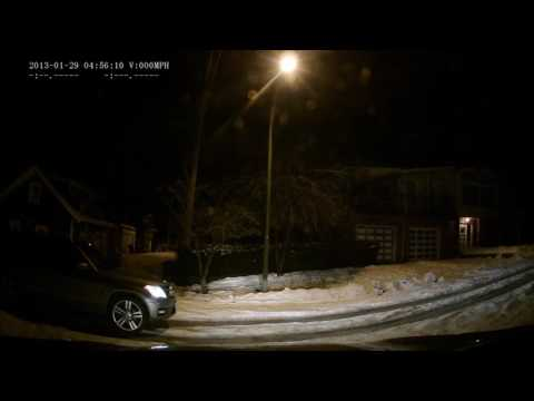 Dash cam - car slides backward on icy street in East Vancouver