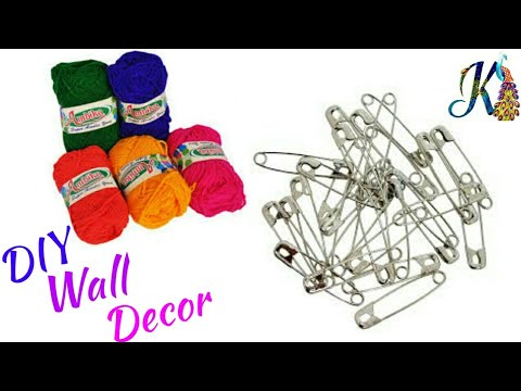 Diy Wall Hanging Best Out Of Waste Safety Pins Wool Craft Ideas Room Decor Handmade