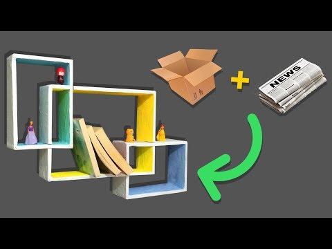 DIY COLORFUL RECTANGULAR CARDBOARD WALL SHELF | ROOM DECOR ORGANIZATION ~ WALL SHELVES DESIGN IDEA
