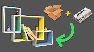 DIY COLORFUL RECTANGULAR CARDBOARD WALL SHELF | ROOM DECOR ORGANIZATION ~ WALL SHELVES DESIGN IDEA