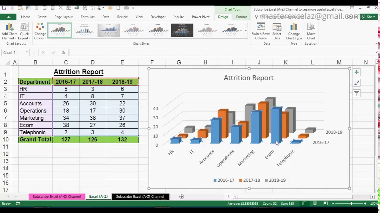 MS Excel 2016: How to Create a Bar Chart   Microsoft Excel Bar Charts