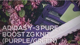 adidas y 3 pure boost zg knit purple green sneakers t