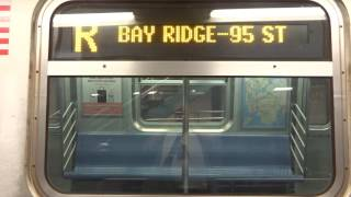 NYC Subway Late Night: R160 (R) Exterior Destination Sign To Bay Ridge (From Whitehall Street)