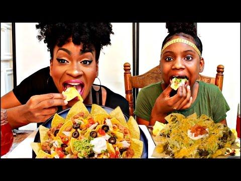 MUKBANG: CHEESY LOADED NACHOS! EAT WITH US! YUMMYBITESTV
