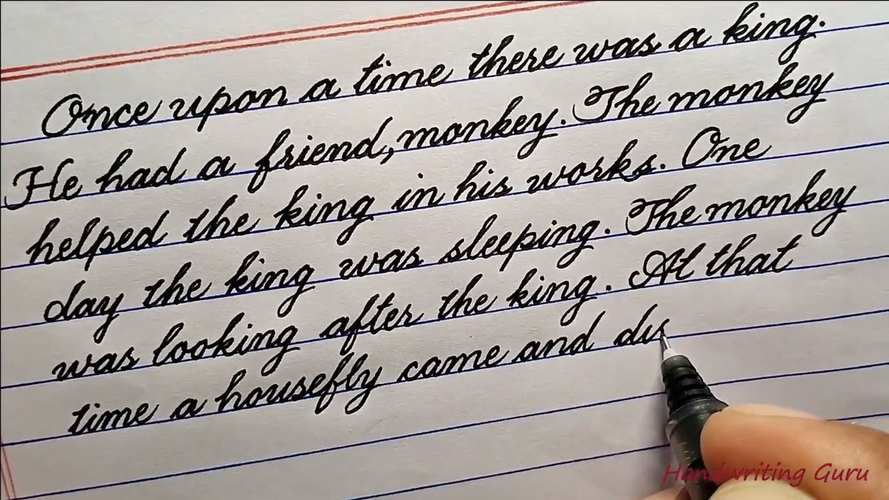 A moral story in beautiful hand-writing  Cursive writing paragraph on a  moral storyCursive writing