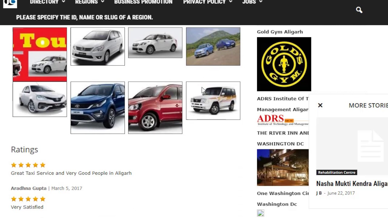 Taxi service directories: a selection of sites