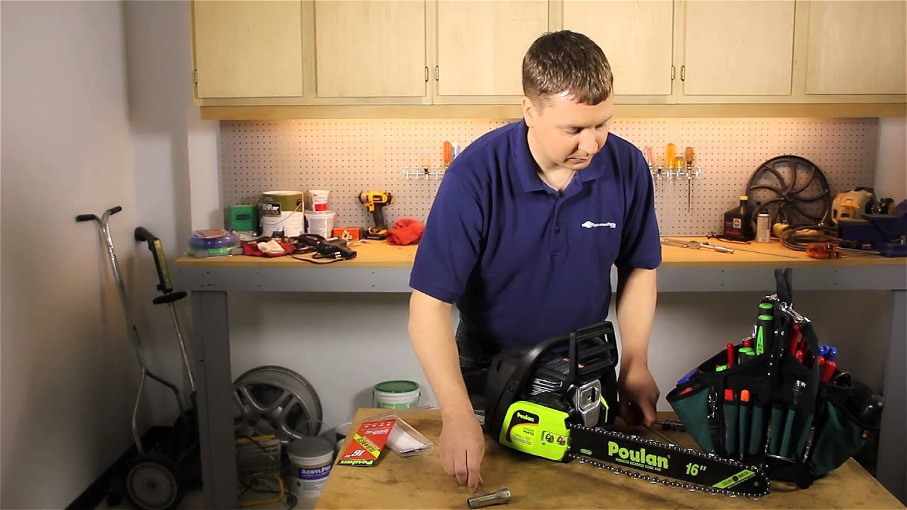 How to install a chain on a poulan chainsaw lawn care power how to install a chain on a poulan chainsaw lawn care power tools youtube greentooth Choice Image