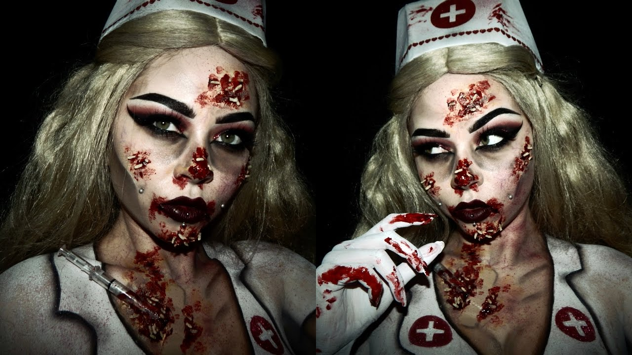 Glam Zombie Nurse Halloween Makeup | SFX - YouTube
