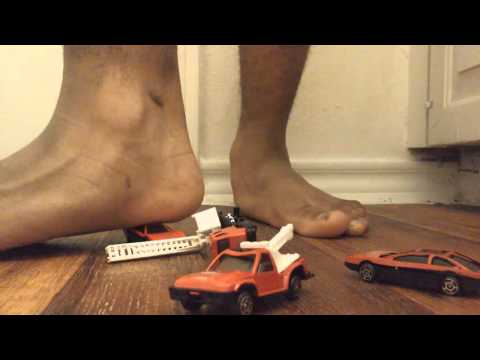 Diecast toy cars crush feet