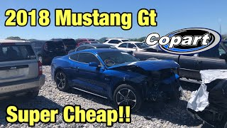 Looking At a Smashed, Wrecked 2018 Ford Mustang GT At Copart Salvage Auction