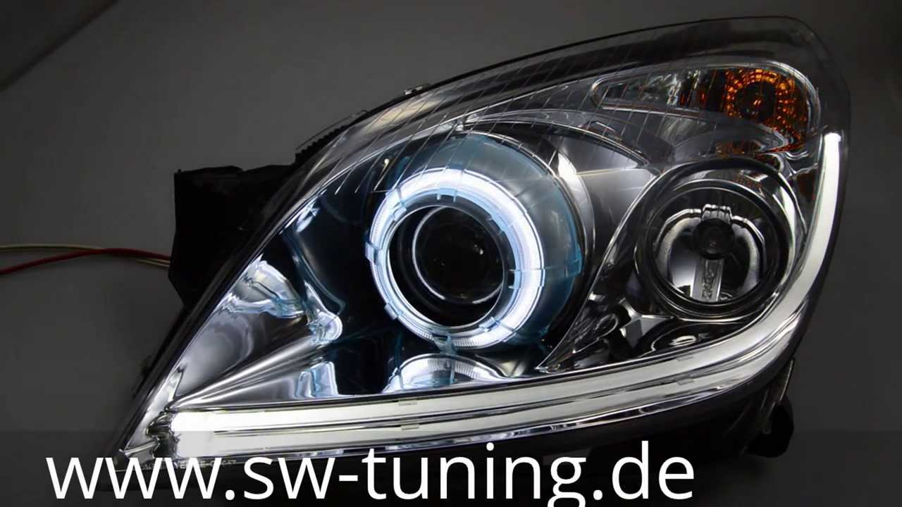 sw led angel eye xenon scheinwerfer opel astra h chrome. Black Bedroom Furniture Sets. Home Design Ideas