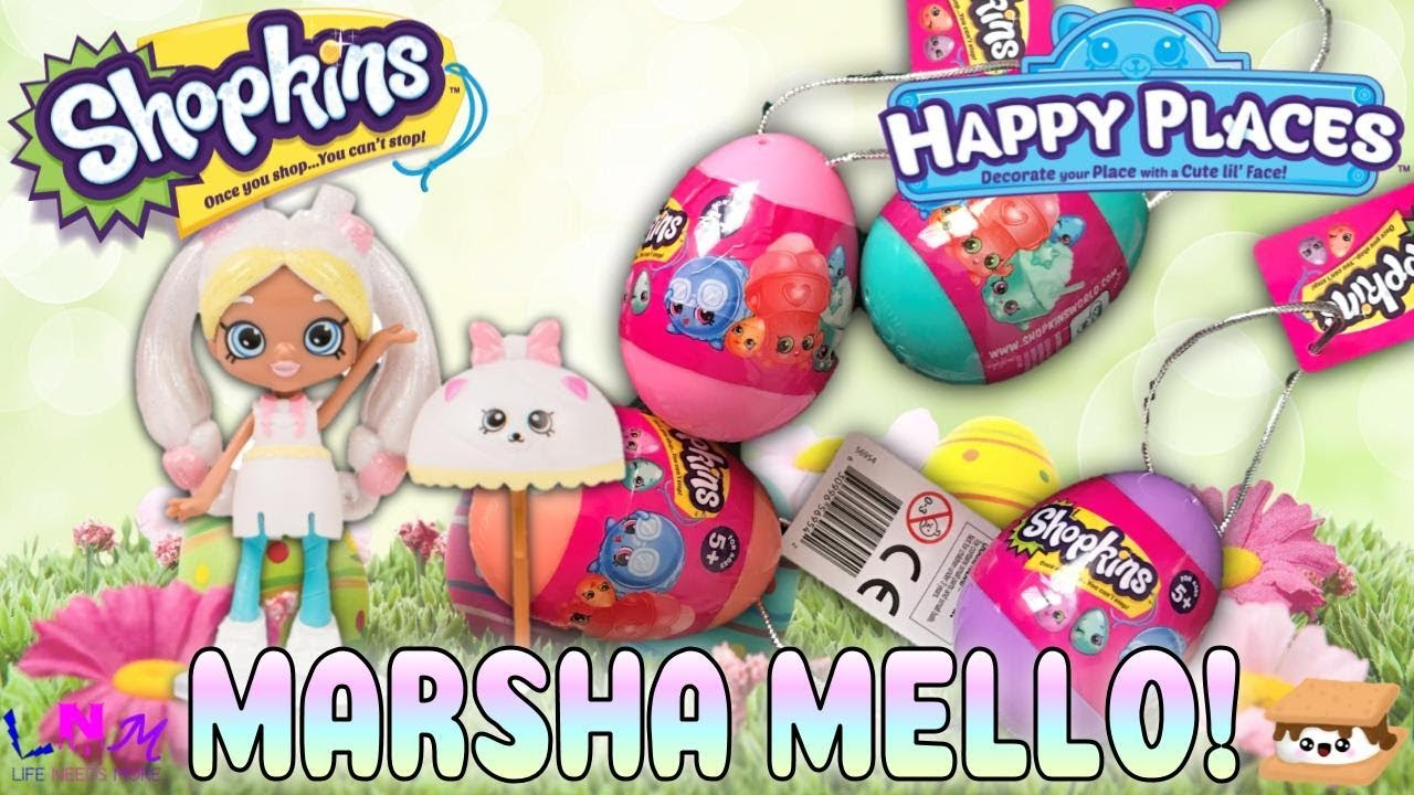 Unboxing Shopkins 2018 Easter Eggs & Shopkins Happy Places Marsha Mello Shoppie Doll Review!