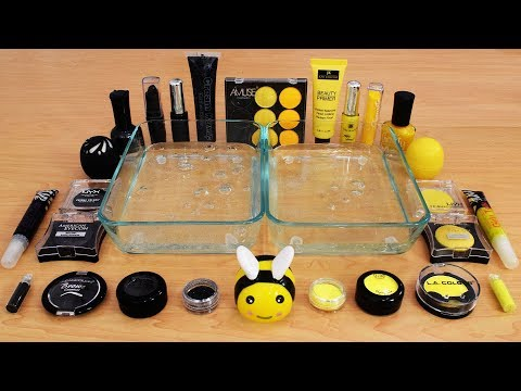 Mixing Makeup Eyeshadow Into Slime ! Black vs Yellow Special Series Part 14 Satisfying Slime Video thumbnail