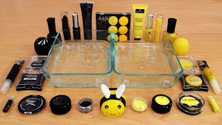 Mixing Makeup Eyeshadow Into Slime ! Black vs Yellow Special Series Part 14 Satisfying Slime Video