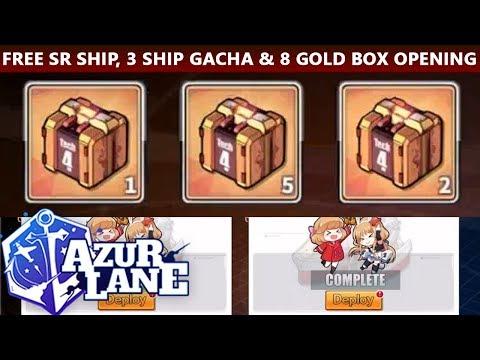 Free SR, 3 Ship Gacha & 8 Gold Box Opening! (Azur Lane)