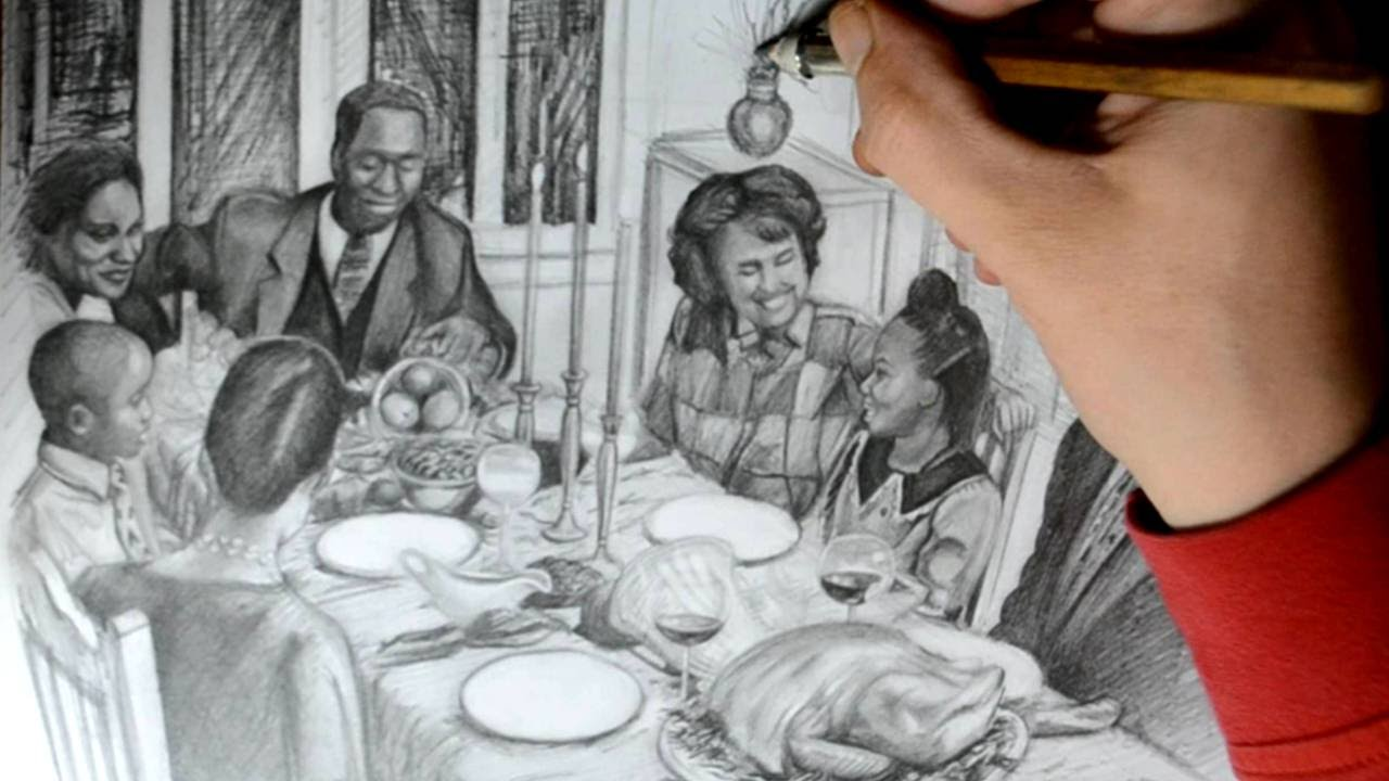 Drawing A Family Eating Thanksgiving Dinner Detailed Quick Sketch
