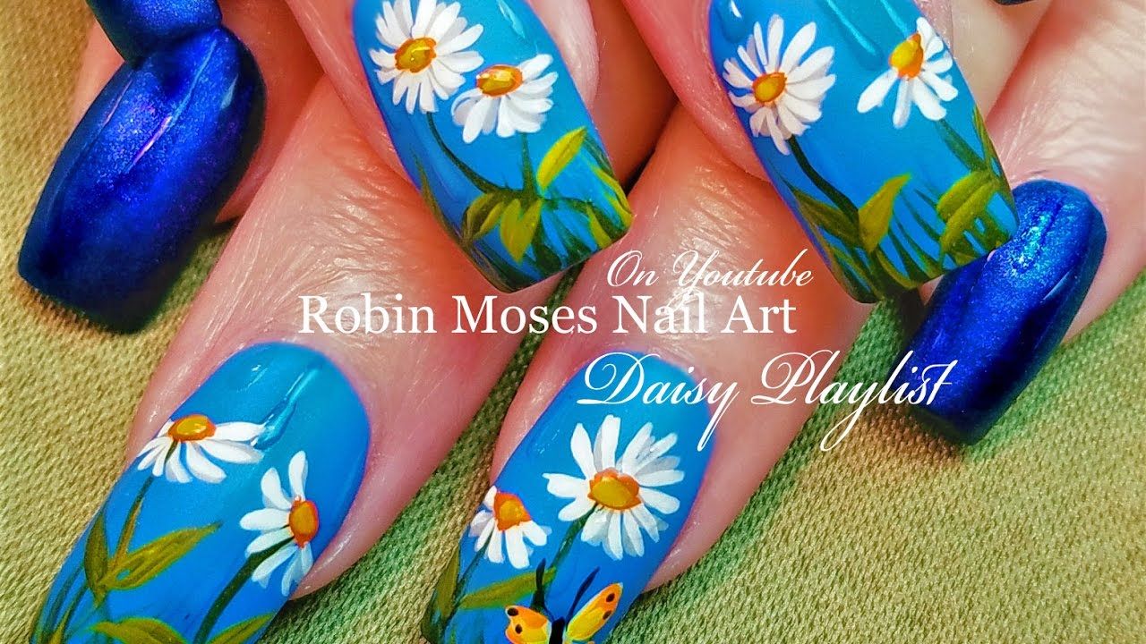 April Shower Nails! | Rain drop Spring Daisy Nail Art Design ...