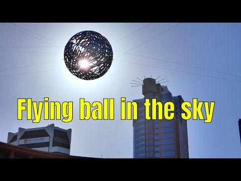 Flying Fern shining ball in the sky, Civic square, Wellington city